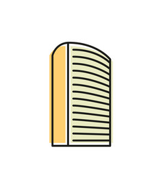 isolated yellow color skyscraper in lineart style vector image