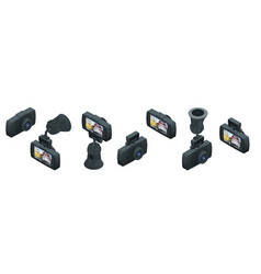 Isometric car dvr portable mobile dvr video camera vector