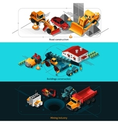 Isometric Construction Machines Banners vector image