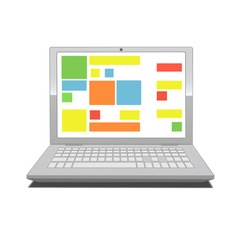 laptop screen with tiles vector image