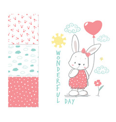 Little rabbit with balloon surface design vector