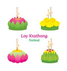 loy krathong festival objects culture thailand vector image