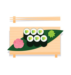 Maki sushi with avocado served on wooden board vector