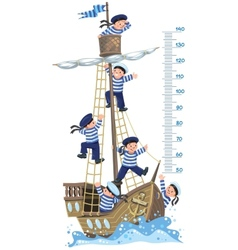 Meter wall with ship and happy sailors vector