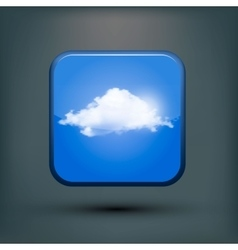Modern realistic icon with sun and clouds vector image