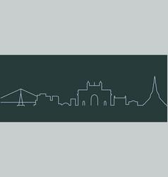 Mumbai single line skyline vector