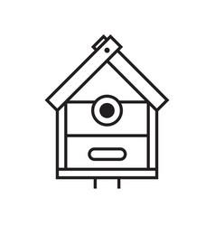 nesting bird house icon in line art vector image