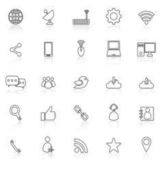 Network line icons with reflect on white vector