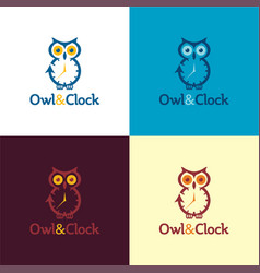 Owl and clock logo and icon vector