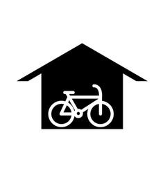 Parking bike inside garage transport silhouette vector