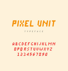 pixel latin alphabet letters and numbers vector image
