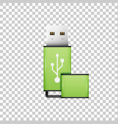 realistic green usb flash drive isolated object vector image