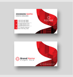 red color modern corporate business card template vector image