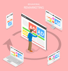 Remarketing flat isometric concept vector