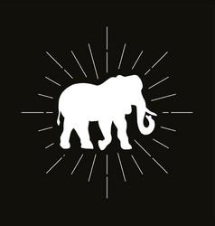 Retro elephant silhouette logo vector