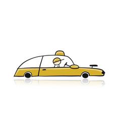 retro taxi car yellow automobile urban transport vector image