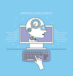 robot computer futuristic artificial intelligence vector image