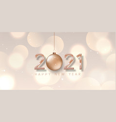 rose gold happy new year banner design vector image