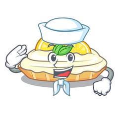 Sailor cartoon lemon cake with sugar powder vector