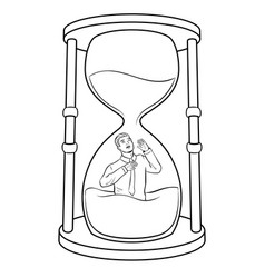 sand watch glass with man coloring vector image