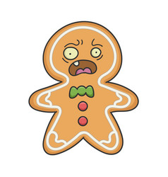 scared christmas holiday ginger bread cookie vector image