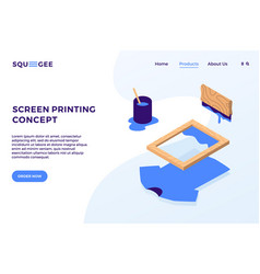 Screen printing isometric elements landing page vector