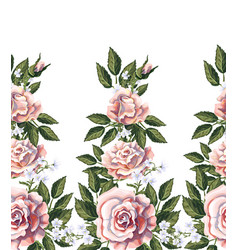 Seamless border with pink roses leaves vector