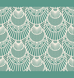 seamless decorative lace scales pattern on blue vector image