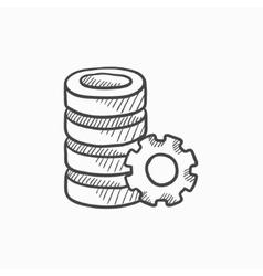Server with gear sketch icon vector image