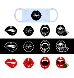 set funny mouth for medical masks vector image