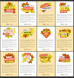 set of advertisement posters with maple leaves vector image