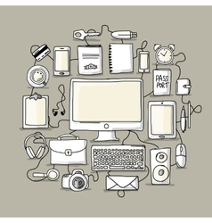 Set of digital office devices Sketch for your vector