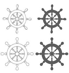 Set of vintage marine steering wheel vector
