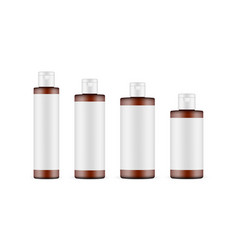 set various sizes amber cosmetic bottles mockup vector image