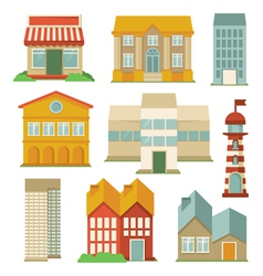 Set with buildings icons vector