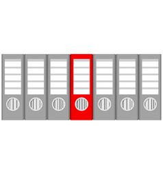 stack of gray ring binders and red one on white vector image