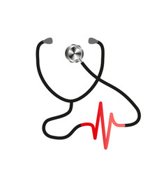 stethoscope with heart pulse vector image