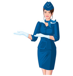 Stewardess in blue uniform shows young beautiful vector