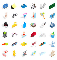 Summer amusement icons set isometric style vector