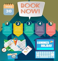 Summer time infographic with book now text vector image