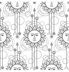 Sun modern seamless pattern vector