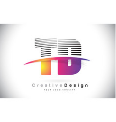 Td t d letter logo design with creative lines and vector