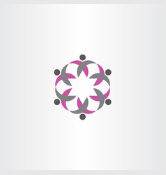 Team people logo icon circle sign vector