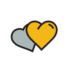 Two heart icon cartoon yellow color vector