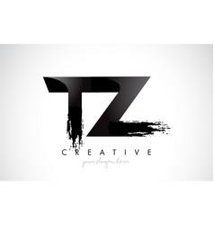 Tz letter design with brush stroke and modern 3d vector