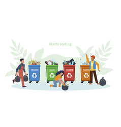 waste management concept people throw garbage in vector image