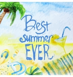 Watercolor summer poster with lettering on vector
