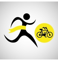 Winner silhouette sport cyclist icon vector