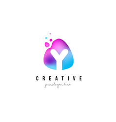 Y letter dots logo design with oval shape vector