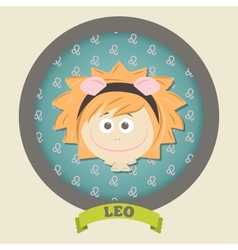 Zodiac signs collection Cute horoscope - LEO vector image